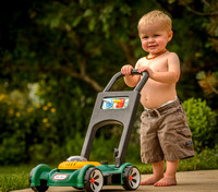 Brecken Mowing the Lawn