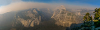 Panorama from Glacier Point - Smoke from forest fires- Yosemite National Park